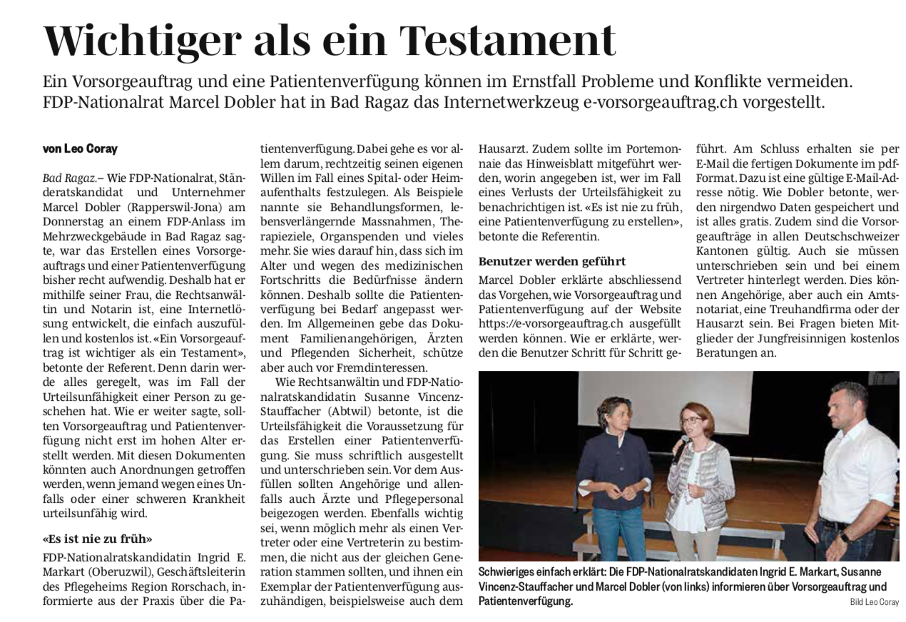 Veranstaltungsreihe e-Patientenverfügung von NR Marcel Dobler