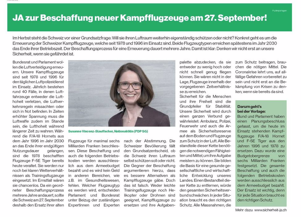 Publireportage von Susanne Vincenz-Stauffacher