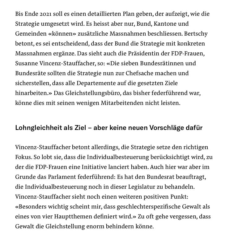 Susanne Vincenz-Stauffacher zur ersten nationalen Gleichstellungsstrategie